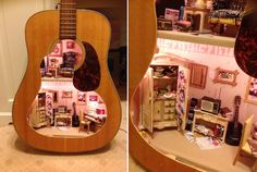 Lorraine Robinson    http://curbed.com/archives/2013/01/07/miniatures-fanatic-builds-first-rate-dollhouse-inside-guitar.php