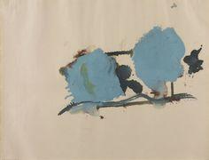 Helen Frankenthaler (American, 1928 - 2011). Blue on One Side, 1962. Oil on paper. Gagosian Gallery.