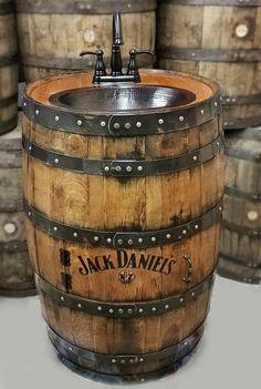 Whiskey barrel sink flat back half hammered copper rustic antique bathroom bar man cave wine oak barrel vanity bourbon personalized Man Cave Vanity, Bourbon, Personalized Whiskey Barrel, Whiskey Barrel Sink, Barris, Barrel Projects, Wine Barrel Furniture, Man Cave Home Bar, Kitchen Themes