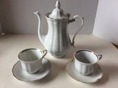 Vintage Wakbrzych White and Gold Tea Set Porcelain Tea Pot Tea Cups Saucers Tea…