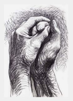 Cave to Canvas, alecshao: Henry Moore - The Artist's Hands, 1974 Two hand clasped together. Tonal sketch Flowing exciting marks