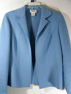 Talbots Womens Size 8 Small Med Soft Powder Blue Wool Open Front Blazer Jacket #Talbots #Blazer