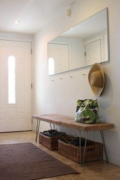Minimalist entryway and DIY hairpin leg reclaimed wood bench Steal This Look: DIY Entryway with Hairpin Leg Bench : Remodelista Apartment Entryway, Entryway Decor, Entryway Bench, Entryway Mirror, Hallway Storage, Modern Entryway, Apartment Furniture, Narrow Entryway, Modern Decor