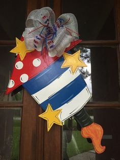 Door Hanger Fourth of July Decor 4th of July by DesignsbyDonnaFaye
