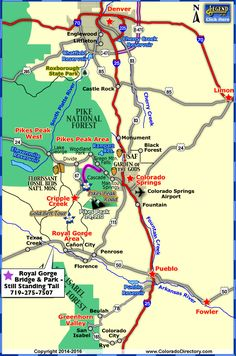 Map of Colorado Towns and Areas within 1 hour of Colorado Springs