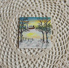 Hand Painted Miniature Dollhouse Landscape by Ghostsofthepast, $12.75