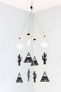 Personalised baby mobile teepee mobile tribal mobile cactus mobile nursery mobile baby mobile hanging mobile crib mobile mobile bebe by TheUrbanHedgehog Teepee Nursery, Boho Nursery, Nursery Decor, Nursery Mobiles, Nursery Ideas, Monochrome Nursery, Nursery Modern, Black White Nursery, Baby Tumblr