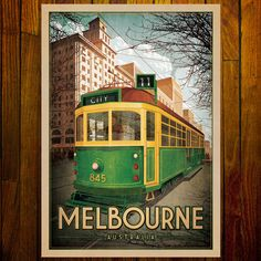 Melbourne Tram print showing a W Class tram traveling along Collins Street with the beautiful art deco T & G Insurance Building in the background. Fortunately, the building has survived. The W Class trams in their traditional green and gold livery, haven't been as fortunate, they seem to be very few and far between these days. Melbourne Tram, Melbourne Australia, Australia Pics, Melbourne Coffee, Melbourne Street, Cafe Posters, Room Posters, Posters Australia, Coffee Poster