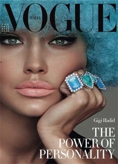 tanned skin, peach lip, smokey liner | Gigi Hadid for Vogue Italia by Steven Meisel
