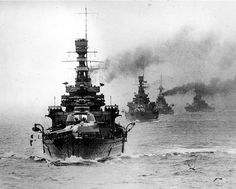 The Home Fleet in 1932, led by the battlecruiser HMS Renown.