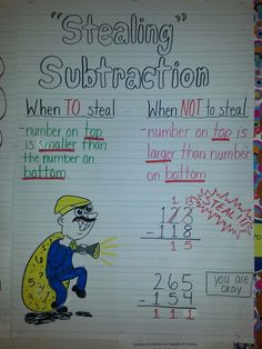 """Regrouping three digit addition. They are """"stealing"""" a ten in order to finish their subtraction. Even though it doesn't say regrouping, the students understand that you have to """"take"""" a ten or """"borrow"""" a ten to add to the ones in order to subtract. Hate me for having fun, but they loved it!!"""
