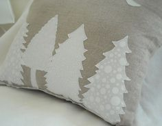 Decorative Linen Pillow - Snowy trees on a moonlight night