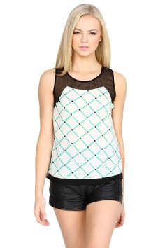 The Sugarlips Miss Crissy Crossed Top is a chic teal and white crisscrossed top featuring a mesh neckline. Looks cute paired with a highwaisted denim cutoffs and a high top chuck. #MyLuluCloset #Sugarlips #Storenvy #Sales #Tops