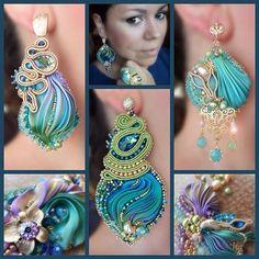Paperclay, Inspirational Gifts, Silk Ribbon, Shibori, Swarovski Crystals, Jewelery, Jewelry Making, Drop Earrings, Beads