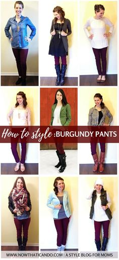 Are you a mom and don't know what to wear with your wine burgundy pants? Here are 20 outfit ideas including infographics on colors, patterns, and shoes to style red/burgundy pants. Written with moms in mind! The blog post has lots of examples and gives a printable cheatsheet download for free!