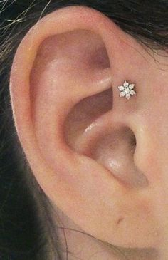 Simple Ear Piercing Ideas at MyBodiArt.com - Crystal CZ Flower Tragus Earring Stud Triple Forward Helix