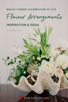 Celebration of Life Flower Ideas | Flower Arrangement Ideas for a Beach-Themed Celebration of Life. Click for floral inspiration & to learn how to make (or where to purchase) beautiful beach themed celebration of life flower arrangements. Celebration of Life Ideas | Celebration of Life Flowers | Celebration of Life Flower Arrangements | Funeral Flowers | Funeral Flower Arrangement | Beach Themed Celebration of Life Flowers. #CelebrationofLifeFlowers #CelebrationofLifeIdeas #AFittingFarewell