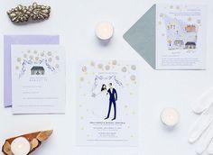 hand drawn lavender #wedding invitation   Jolly Edition   http://www.mywedding.com/articles/charming-wedding-invitations-from-jolly-edition/