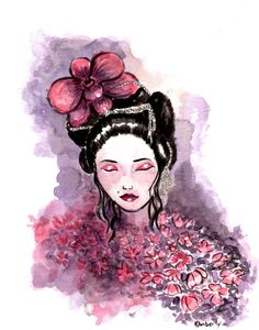 'Lady Orchid' -by RedMoth (Kimberly Grau). This illustration is available as an art print via my etsy shop! https://www.etsy.com/listing/266840375/lady-orchid-art-print-wall-art-wall?ref=related-4.  My official website also contains more creative projects, feel free to visit at http://www.redmothart.com/?page_id=17