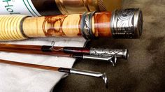 Bamboo fly rod with dogwood burl reel seat and engraving by Hollifield Bamboo.