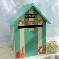 Beach Hut Personalised Wedding Post Box / Hand-made by Lindleywood