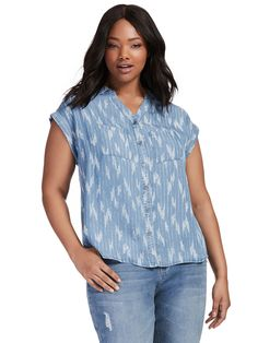 Ikat Denim Button Down Shirt by Style & Co Available in sizes 0X-3X
