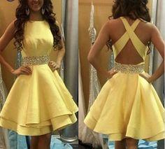 Pas cher Mode belle jaune court robes de cocktail 2016 o cou une ligne perlée…