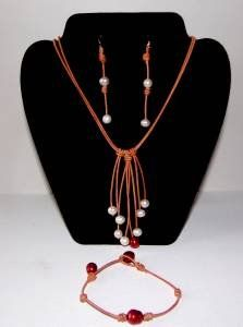 Pearl and Leather Necklace Bracelet and 14 K GP Earrings Brianna Collection ~~~