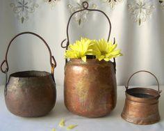 Vintage Copper Decorative Pot Set Primitive by CynthiasAttic