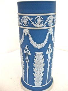 Vintage Wedgwood Blue DIP Jasperware Cylinder Vase | eBay