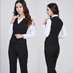BEBE Business Suits Vest and Pant Professional Business Suits Vest Women Blazers Ladies Office Trouser Set Pantsuits Fashion Women Career Slim Suits (Vest Pants) Elegant, Formal Style for Office Ladies Vest Color: Black size small --Pant size 3/4Color: Black Material: Cotton Blazer Fiber the pant are a size 4 the vest is a small but the fabric stretch please ask all question before purchase bebe Tops