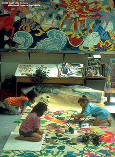 Young mural artists in Reggio Emilia
