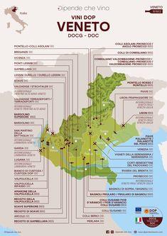 Tutti i vini DOP (DOCG e DOC) del Veneto, localizzati sulla carta regionale Wine Pics, Wine Guide, Italy Map, Italian Wine, Prosecco, Wine Drinks, Wine Tasting, Wine Recipes, Wine Food