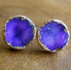 purple druzy earrings