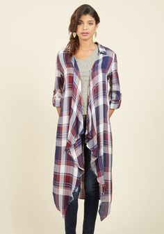 You Could Crochet That Again Jacket. Every declaration of admiration uttered over this plaid jacket echoes your own sentiments! #blue #modcloth