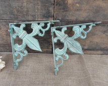 Set of 2 FLEUR DI LIS Brackets - Aqua/Turquoise & Gold Accents - Cast Iron Shelf Brackets - Tuscan Old World Rustic - Wall - Corner Trims