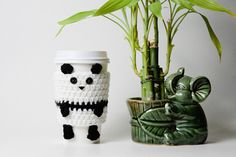 Crochet Panda Coffee Cup Drink Cozy by CuddlefishCrafts on Etsy, 25.00