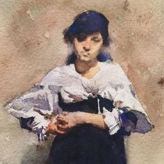 """""""Another little watercolor (this time a detail shot) from the Sargent exhibit at the Met. This one, named Young Woman in a Black Skirt, is so small and yet the detail is spot on.  #detail #johnsingersargent #themet #art #painting #watercolor #sogood #lovelovelove"""" Photo taken by @leslieduke on Instagram, pinned via the InstaPin iOS App! http://www.instapinapp.com (07/24/2015)"""