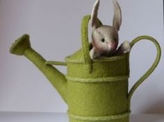 Adorable felt bunny in a watering can- not in English
