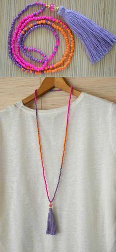 14-tassel-colar Crochet Book Cover, Crochet Books, Diy Tassel, Tassels, Crochet Beach Bags, Love Sewing, Handmade Necklaces, Tassel Necklace, Diy And Crafts
