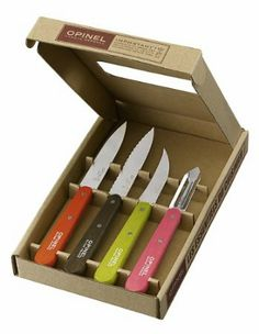 Opinel Knives 01452 Kitchen Set with Wood Handles