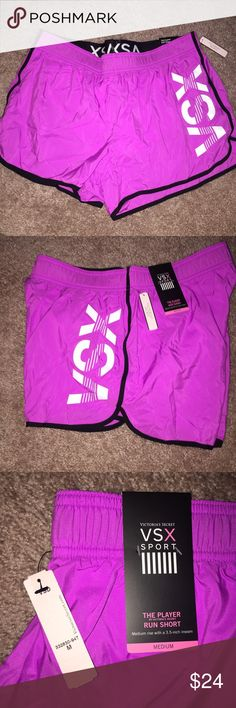 """VSX The Player Running Shorts Purple Brand new with tags! Victoria's Secret VSX Running Shorts  Size: Medium Color: House Party / VSX Graphic  Medium rise Built in panty Internal pocket 3.5"""" inseam Body wick keeps you cool and dry  ⭐️NO TRADES⭐️ Victoria's Secret Shorts"""