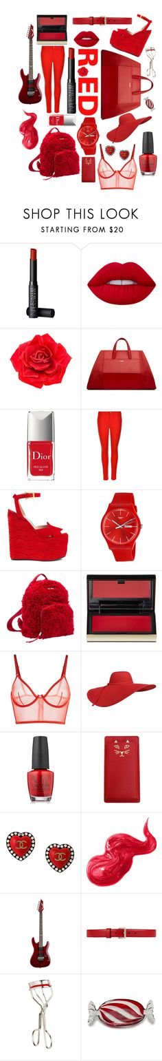 """RED"" by amoxoxo ❤ liked on Polyvore featuring beauty, NARS Cosmetics, Lime Crime, Johnny Loves Rosie, La Perla, Christian Dior, J Brand, Gucci, Swatch and Miu Miu"