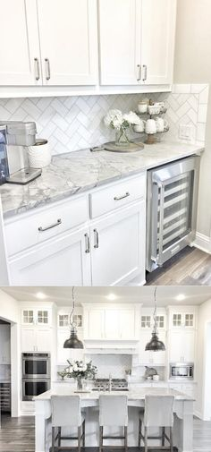 Stunning White Kichen Cabinet Decor Ideas (With Photos) For 2020 Looking for ideas for white kitchen? Check out these awesome white kitchen cabinet decor ideas for 2020 . Kitchen Room Design, Kitchen Cabinets Decor, Cabinet Decor, Kitchen Redo, Home Decor Kitchen, Kitchen Interior, Home Kitchens, Kitchen Dining, Kitchen Ideas