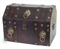 Antique Pirate Treasure Chest Box Lion Rings Accent Trunk Home Storage Furniture #QuickwayImports