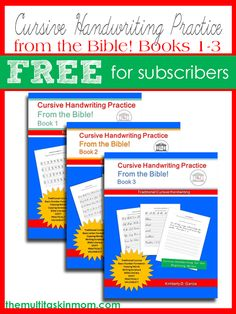 Get your free copy of the cursive handwriting from the bible books 1-3 for a limited time!