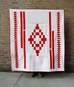 XL Ikat: A Modern Red and White Quilt by Six White Horses