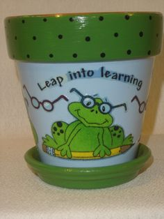 frog for teacher pot by SnipPots on Etsy, $11.95