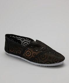 Loving this Black Crochet Slip-On Shoe on #zulily! #zulilyfinds