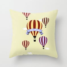 Throw Pillow Cover  Hot Air Balloons Fly Away  16x16 by adidit, $36.00